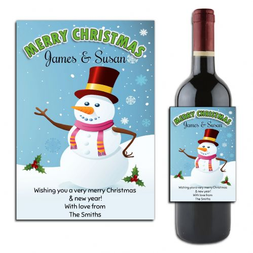 Personalised Christmas  Snowman Wine or Champagne Bottle Label N167
